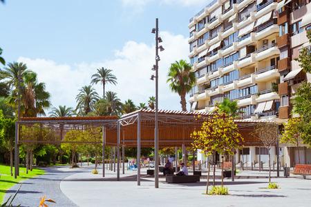 av: ALICANTE, SPAIN - SEPTEMBER 9, 2014: Modern technology gazebos to protect people from sun. New design of modern city, landscape design and architecture. Av Loring, Alicante, Valencia, Spain