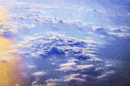 Clouds and sun over the skies of Europe at height of flight of aircraft. Flights over the Baltic sea. Photo stylized illustration