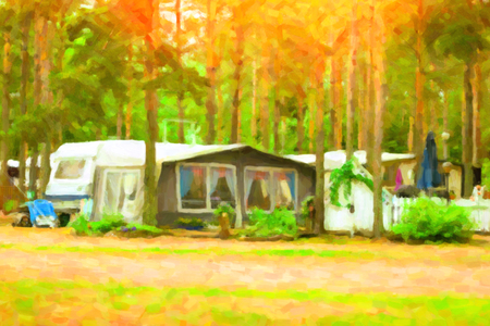 pictorial  representation: Summer outdoor camping in Scandinavian forest. Wild vacation, Hiking in Nordic countries. Traditional camping in camps and tents. Finland, Suomi. Photo stylized pictorial representation