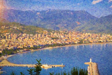 turkiye: Turkey. Alanyas city and port with the lighthouse, Alanya Stock Photo