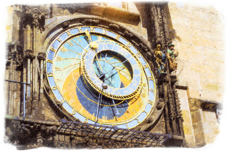 town square: Prague Astronomical Clock (Orloj) in the old Town Square, The old town hall (Staromestske namesti), Prague, Czech Republic. Photo stylized illustration Stock Photo