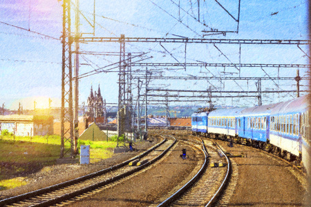 Passenger train departs from the main train station of Prague to Kutna Hora. Locomotive enters the tunnel. Prague, Czech Republic. Photo stylized illustration Stock Photo