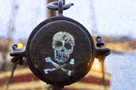 mast: Pirate label. Skull and crossbones painted on the side of the mast of the ship, Stockholm, Sweden