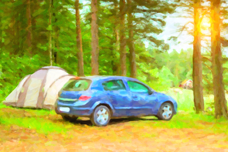 pictorial  representation: Summer outdoor recreation, Scandinavian vacation. Blue Car parked in a wooded campsite among pine trees. Finnish Gulf. Area for camp in woods. Hamina, Finland, Suomi. Photo stylized pictorial representation
