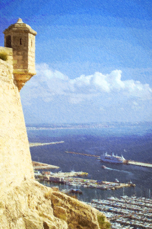 santa barbara: Alicante, Spain. Yacht port of Alicante, view from castle Santa Barbara, Valencia. Photo stylized illustration