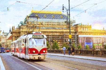 sleepers: Old tram on bridge of Legions in district Strelecky ostrov, on background of National Theatre, Prague, Czech Republic. Photo stylized illustration Stock Photo