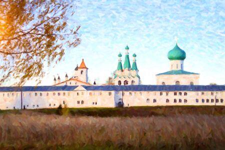 pilgrim journey: Holy Trinity Alexander Svirsky monastery in Staraya Sloboda, Leningrad region, Russia Stock Photo