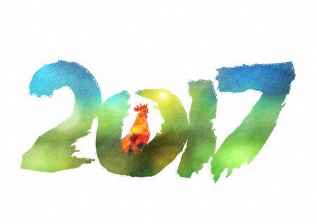 New 2017 - year of Fire Rooster in Chinese calendar. Numbers 2017 in individual creative performance with color blurred background Stock Photo