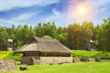 Tallinn, Estonia. Ancient residential and agricultural buildings of wood and stone with thatched roofs, installed on the territory of the Estonian ethnographic Museum under the open sky. Rocca al Mare. Photo stylized illustration