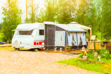 suomi: Summer outdoor recreation, Scandinavian vacation in house on wheels. Camping vans and tents parked on a green meadow in campsite among trees. Campsite, Finland, Suomi