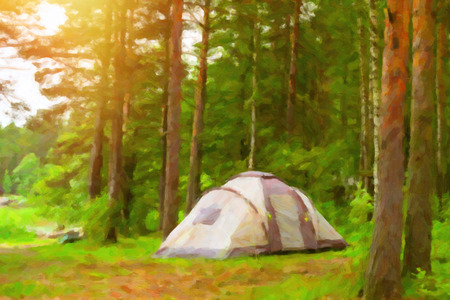 suomi: Summer outdoor camping in Scandinavian forest. Wild vacation, Hiking in Nordic countries. Traditional camping in camps and tents. Finland, Suomi. Photo stylized pictorial representation