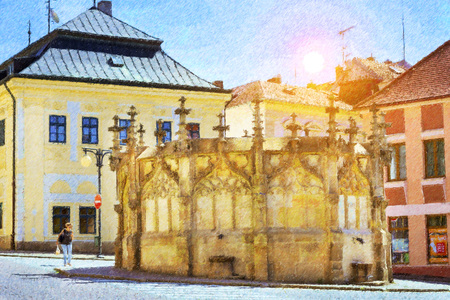 unesco in czech republic: Gothic stone fountain (Kamenna kasna) located on the Rejsek Square. World Heritage Site by UNESCO. Kutna Hora, Czech Republic. Photo stylized illustration