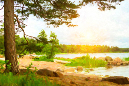 pictorial  representation: Summer outdoor camping at Scandinavian lake. Wild vacation, Hiking in Nordic countries. Traditional camping in camps and tents. Finland, Suomi. Photo stylized pictorial representation