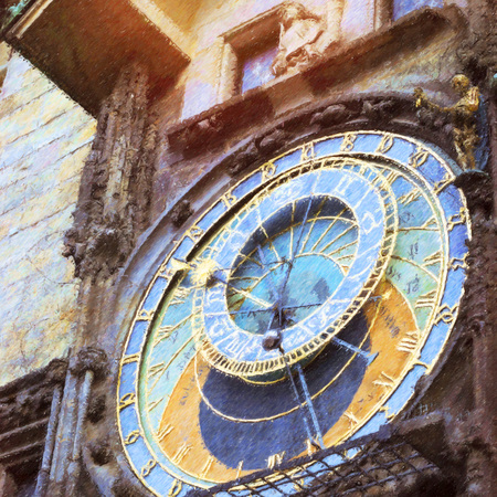 old town hall: Prague Astronomical Clock (Orloj) in the old Town Square, The old town hall (Staromestske namesti), Czech Republic. Photo stylized illustration