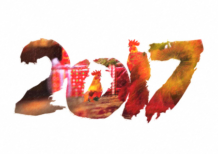 individual color: New 2017 - year of Fire Rooster in Chinese calendar. Numbers 2017 in individual creative performance with color blurred background Stock Photo