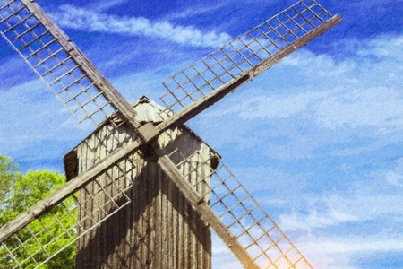 Ancient windmill of wood, installed on the territory of the Estonian ethnographic Museum under the open sky. Rocca al Mare, Tallinn, Estonia. Photo stylized illustration Stock Photo