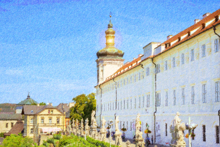 unesco in czech republic: Jesuit College in Kutna Hora, city protected by UNESCO. Czech Republic. Sunny autumn landscape with plenty of green plants and old architecture. Photo stylized illustration
