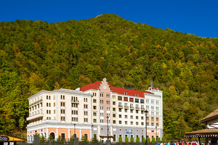 constructed: SOCHI, RUSSIA - OCTOBER 31, 2015: Rosa Khutor, Hotel Radisson building of the Alpine ski resort. Constructed from 2003 to 2011. Krasnaya Polyana, Sochi, Krasnodarskiy kray, Russia