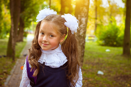 first year student: Little first-grader, girl-student goes to school on knowledge day - September First. Student of elementary school in uniform with bows posing in autumn landscape, shoulders bag with textbooks. Russia