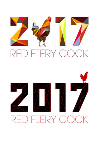 year: 2017 and Cock in style of polygons. Rooster, symbol of New 2017 - according to Chinese calendar Year of red fiery cock. Pet bird. Vector clipart, fully editable and infinitely scalable