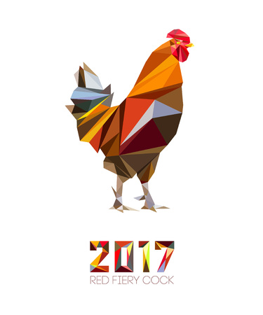 Hahn und Zahlen 2017 im Stil von Polygonen. Hahn, Symbol des neuen 2017 - nach dem chinesischen Kalender Jahr rot feurigen Schwanz. Pet Vogel. Vektor-Cliparts, voll editierbar und unbegrenzt skalierbar
