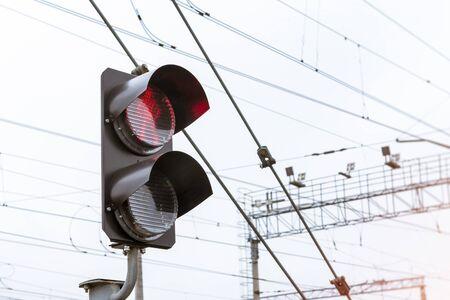 operational: Railway semaphore prohibiting shines red. Technical railway station - operational locomotive depot. Transport infrastructure of Russian Railways, St. Petersburg
