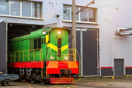 operational: Old locomotiv RZD stand on railroad track of technical railway station - operational locomotive depot. Transport infrastructure of Russian Railways, St. Petersburg