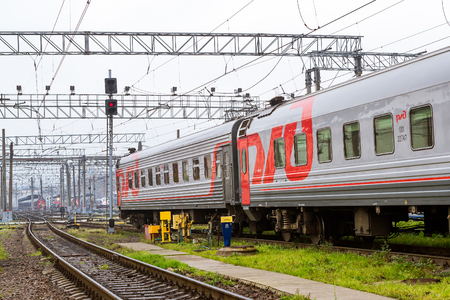 operational: SAINT-PETERSBURG, RUSSIA - September 28, 2016: Railway cars stand on railroad track of technical railway station - operational locomotive depot. View of Moscow station. Transport infrastructure of Railways, St. Petersburg Editorial