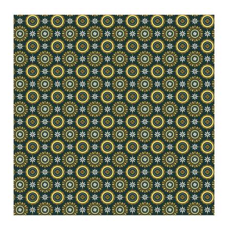 ローマ スタイルのパターン。ガラ プラキディアのヴォールト天井の飾り。濃い緑色の背景上の円のビザンチンの花柄。ベクトル図  イラスト・ベクター素材