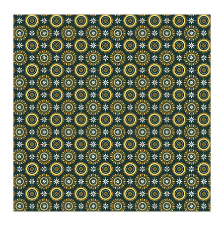 mausoleum: Pattern in Roman style. Ornament on ceiling vaults in mausoleum of Galla Placidia. Byzantine floral pattern of circles on dark green background. Vector illustration