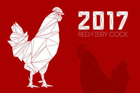 numbers clipart: Cock and numbers 2017 in polygon style. Rooster, symbol of New 2017, according to Chinese calendar Year of red fiery cock. Pet bird. Vector clipart, fully editable and infinitely scalable