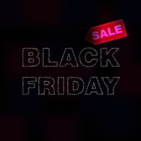 Black Friday sale blurred background. Promotion of trade discounts and Christmas sales. Advertising banner with free space for information. Vector illustration
