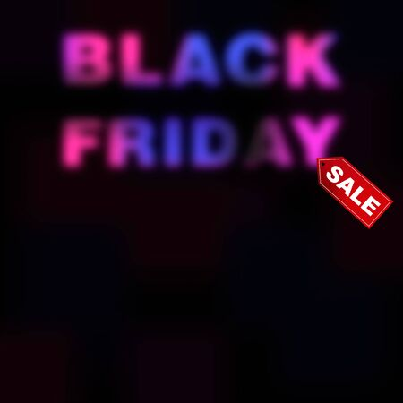 Black Friday sale blurred background. Promotion of trade discounts and Christmas sales. Advertising banner with free space for information. Raster illustration