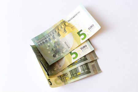 Euro banknotes are in denominations of 5 euros. Symbol of European currency to wealth and investment. Money of European Union