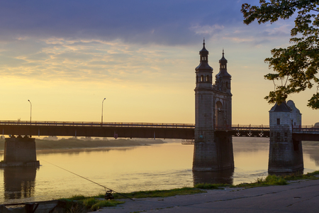 outpost: Queen Louise bridge across Neman river, road and pedestrian border crossing point on Lithuanian-Russian state boundary. Historical landmark of Sovetsk, Tilsit in East Prussia. Kaliningrad, Russia