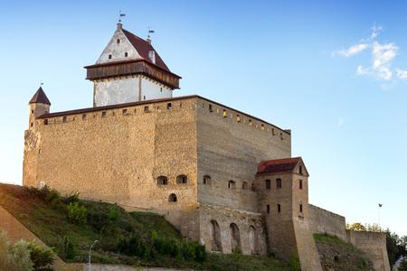 herman: Narva fortress - Herman castle stand on bank of Narva river. Medieval fortifications on Estonian state border. Hermanni linnus, Estonia, European Union