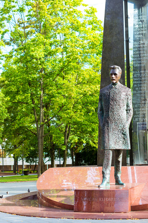 Vilnius, Lithuania - August 8, 2012: Bronze monument to Vincas Kudirka on granite pedestal in eponymous Park. Vincas Kudirka - national hero of Lithuania, author of words and music of National Anthem Editorial