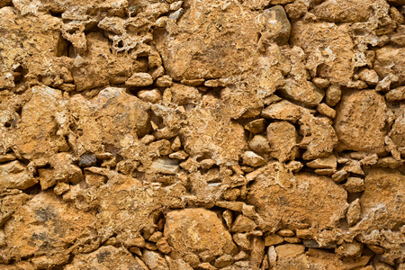 fortezza: Texture stone-clay wall in Fortezza Castle Rethymno - fortress, built by Venetians, on hill Paleokastro. Crete, Greece Stock Photo