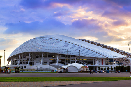 Sochi Adler, Russia - November 1, 2015: Fisht Olympic stadium built for XXII Sochi winter Olympic games 2013. Reconstruction of Stadium Fisht for Confederations Cup 2017 & FIFA world Cup football 2018