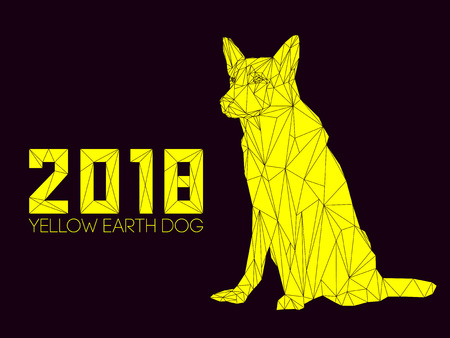 Dog is symbol of New 2018 year, according to Chinese calendar Year Of Yellow Earth Dog. Guard dog German shepherd in polygons style, sitting on hind legs. Pet and guard dog, loyal friend of man Illustration