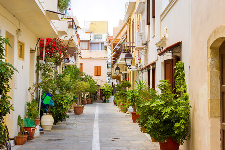 Rethymno Greece Crete. Walk around the old resort town Rethymno in Greece. Architecture and Mediterranean attractions on island Crete. Narrow touristic street in the tourist routes Stock Photo