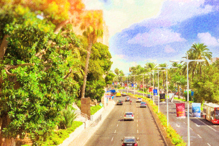 Spain, Alicante. Active vehicular traffic on busy highway. View of major highways Carrer de Jovellanos from bridge. Photo stylized illustration Stock Photo