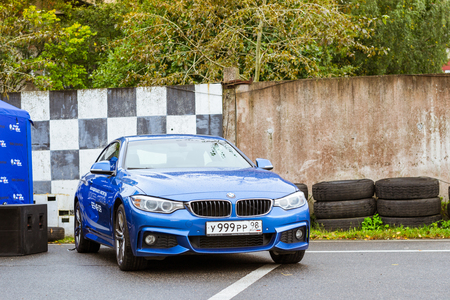 Saint-Petersburg, Russia - September 16, 2017: Cars BMW 5, 3, 6, X3, X5, X6 series for rally car lovers German Bavarian manufacturer BMW. Event BMW Meetup. Autumn meeting car lovers of speed and drive