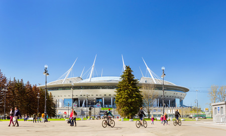 St.Petersburg, Russia - 9 may, 2018: 21st FIFA world Cup 2018. Stadium Saint-Petersburg. Zenit Arena football stadium on Krestovsky opened in 2017 FIFA Confederations Cup. Sports complex SIBUR arena