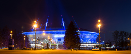 St.Petersburg, Russia - 14 may, 2018: 21st FIFA world Cup 2018. Stadium Zenit Arena, football stadium Saint-Petersburg on Krestovsky opened in 2017 FIFA Confederations Cup. Night illumination of arena Editorial