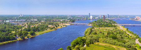 Summer aerial view of city Riga from the height of the TV tower. View of the old town, Zakusala island, bridges over the rivers Daugava and Western Dvina. Latvia, Baltic States, European Union Stock Photo
