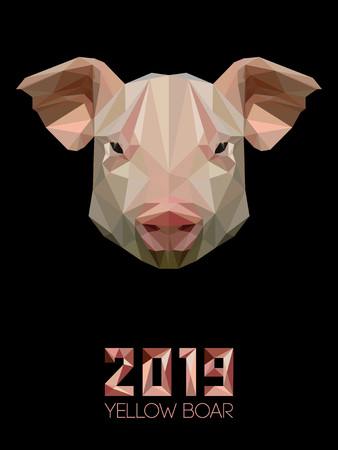 Pig is symbol of New 2019 year, according to Chinese calendar Year of Yellow Earthen Boar. Snout of a domestic pig in polygons style. Farm Pets Ilustração Vetorial