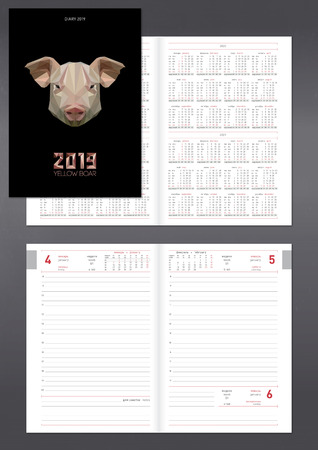 Template for layout of daily planner for 2019 year with pig. Design office book with page templates, personal data and calendar data on 2018, 2019, 2020, 2021 years 向量圖像
