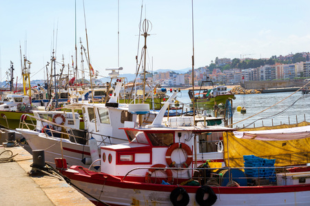 Fishing boats and yachts moored at pier in port Blanes. Motorboats with catch of sea fish, oysters, squid, sea delicacies. Fish auction for wholesalers and restaurants. Blanes, Spain, Costa Brava