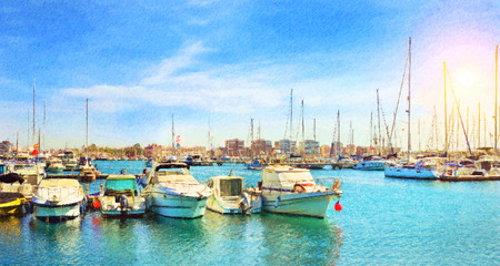 Yachts and boats parked at pier in port Marina of Torrevieja. Bay with piers in centre of resort town. Torrevieja, Spain. Puerto deportivo Marina Salinas, Valencia, Spain. Photo stylized illustration
